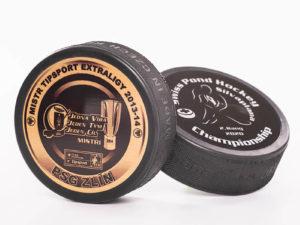 Eishockeypuck mit Druck auf Metallplatte (Superprint)