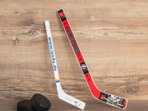 Eishockeyschläger als Ministick 36 cm mit Werbeaufdruck